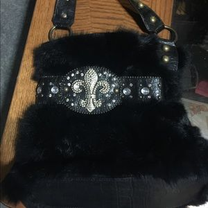 Black fur purse
